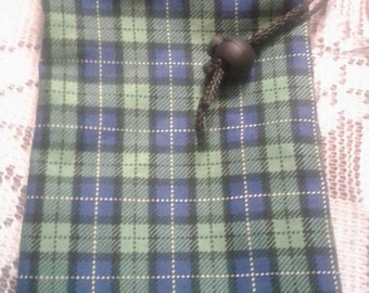 Green and Blue Plaid Dice Bag