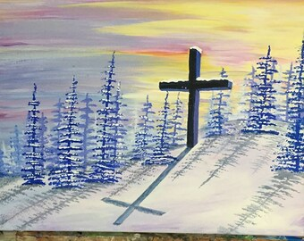 Winter Cross in the forest