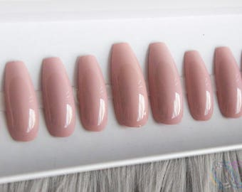 Nude No 1 • Dusty Rose • Press on Nails Matte or Glossy Any Shape or Size