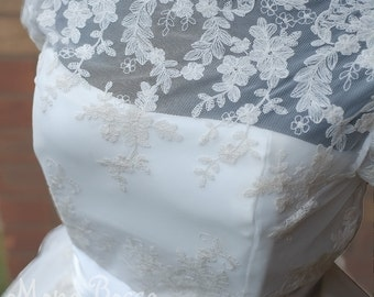 50's wedding dress with Edwardian lace Hepburn style Made to order by Mona Bocca