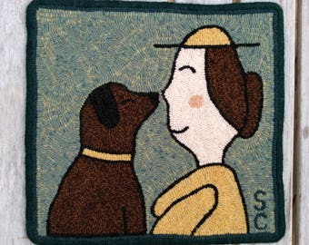 "Handmade Hooked Rug - ""Nose to Nose"""
