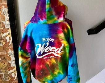 Vintage 1990s Tie Dye Stoner 420 Enjoy Weed California Coke Parody Sweater Sz L