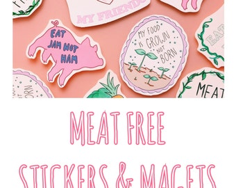 Meat Free Sticker Pack X6 / Magnet Pack / Vegan / Vegetarian