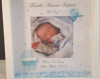 Newborn Baby/ Birth keepsake frame/Box frame/gift