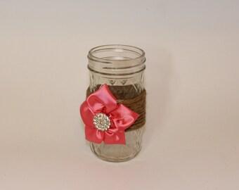 Shabby chic mason jar vase/candle holder