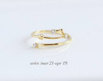 Constellation Zodiac Rings | 16kt Gold Plated