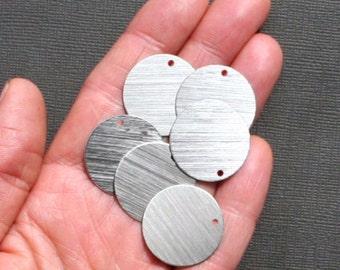 "20 Aluminum Stamping Tags Round Brushed Aluminum 1"" Disc - MT041"