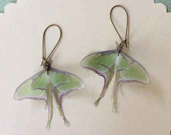 Handmade Luna Moth (Actias Luna) Butterfly Moth Earrings in Silk Organza
