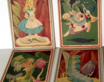 Vintage Alice In Wonderland Sewing Cards