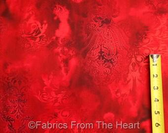 Dreamscape in Garnet Deep Red Tonal Watermark  BY YARDS Benartex Cotton Fabric