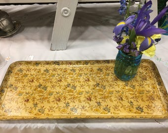 Flower Tray-Shabby Chic-Blue and Yellow Flowers--Beautiful Patina