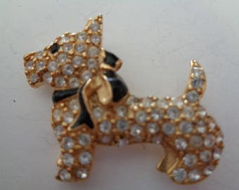 Vintage Signed Monet Goldtone/Rhinestone Small Scottie Dog with Black Bow Tie Brooch/Pin