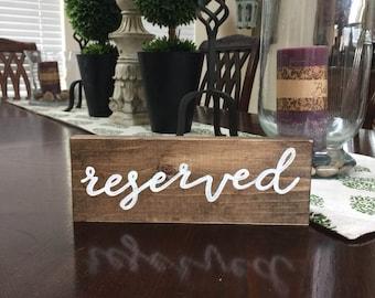 reserved sign, wedding decor, table decor, restaurant, shelf sitter, table decor, table setting