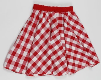 S Red White Gingham Skirt, Handmade PICNIC Skirt, Womens Gingham skirt, Handmade Gingham Skirt, Gingham Twirl Skirt, Womens Checker skirt