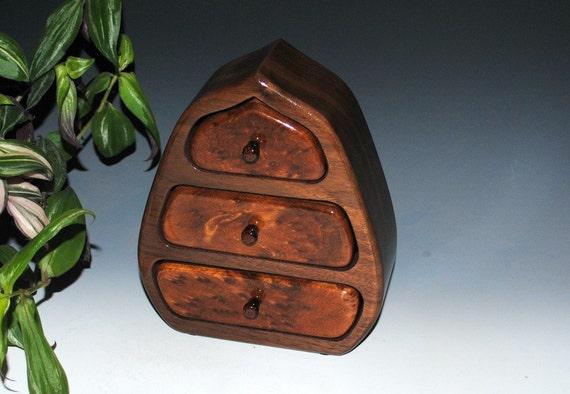 Wood Jewelry Box - Handmade Wooden Jewelry Box of Redwood Burl On Walnut - Burlwood Box, Jewelry Box, Jewelry Box Drawers, Small Wood Box