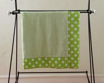 Green Polka Dot Cuddly Baby Blanket.