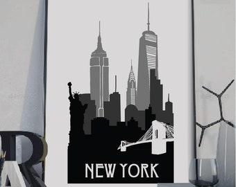 New York Print, New York Silhouette print, Wall art,City poster, Silhouette art, New York poster, City Skyline art, instant download art