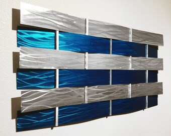 "Modern Abstract Metal Wall Art Sculpture Painting - Teal ""Wall Weave"" by Dustin Miller"