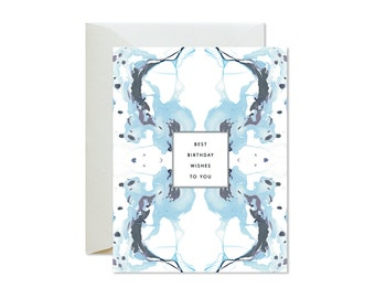 BEST BIRTHDAY WISHES Tiled Grey Mauve Blue Marble Greeting Card / Birthday