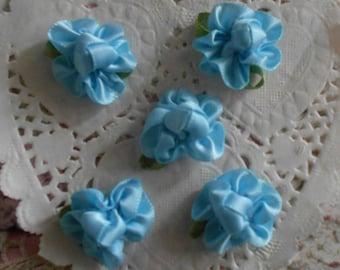 Blue and small satin flowers leaves green polyester 2.50 cm long (with 5 flowers)