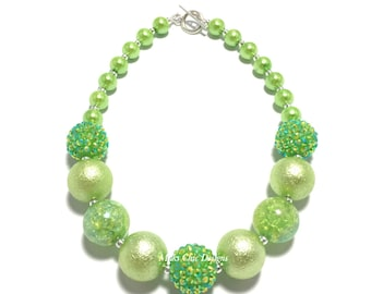 Toddler or Girls Pretty in Lime Green Chunky Necklace - Princess Chunky Necklace - Lime Green Chunky Necklace - Flower Girl necklace