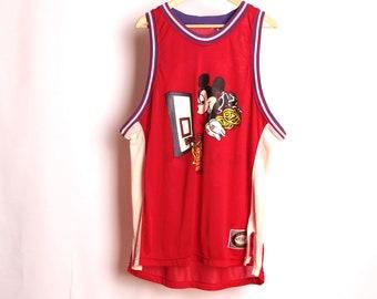 Vintage DISNEY mickey JERSEY hoops basketball oversize en maille jersey passage fin des années 90 de basket-ball en jersey