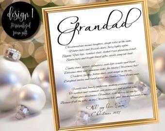 Christmas poem gift for Grandad / Gift for Grandparents / Grandparents gift / Grandad gift / Grandma gift / Grandmother gift / Grandfather