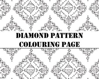 Diamond Pattern Detailed Printable Colouring Page A4