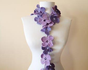 Crochet floral scarf, Crochet lariat necklace, Colorful floral scarf, Crochet floral lariat necklace handcrochet scarf necklace gift for mom
