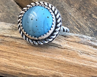 Leland blue stone and sterling silver ring