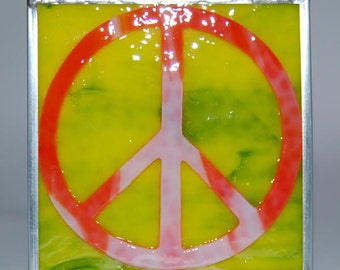 Peace Sign Stained Glass Box