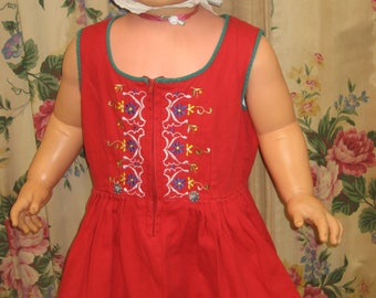 """1950's, 24"""" chest, Tyrolean red cotton dress with scooped neckline"""