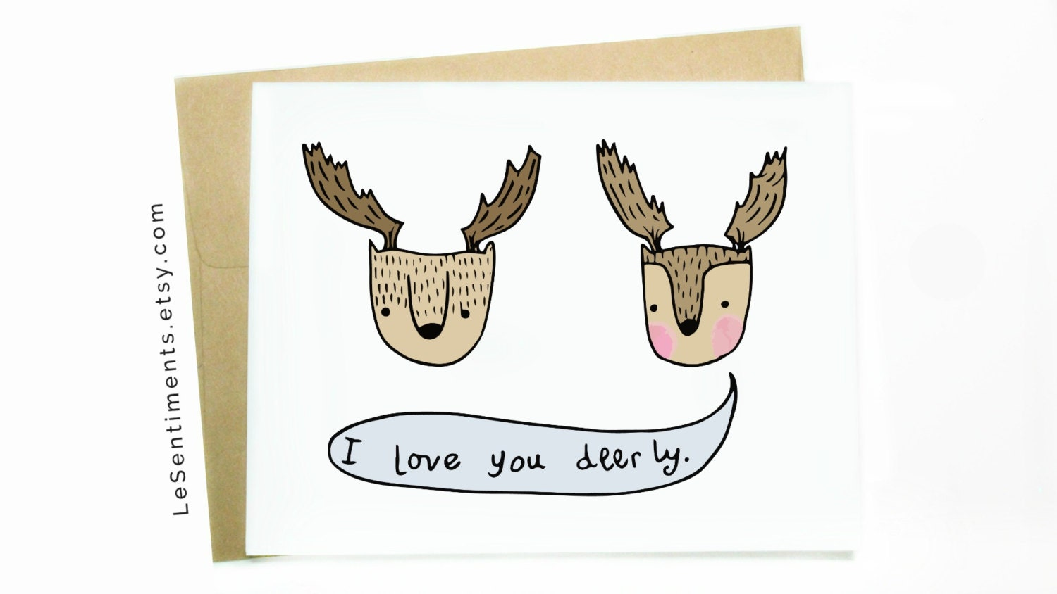Funny greeting card i love you deerly anniversary card i zoom kristyandbryce Gallery