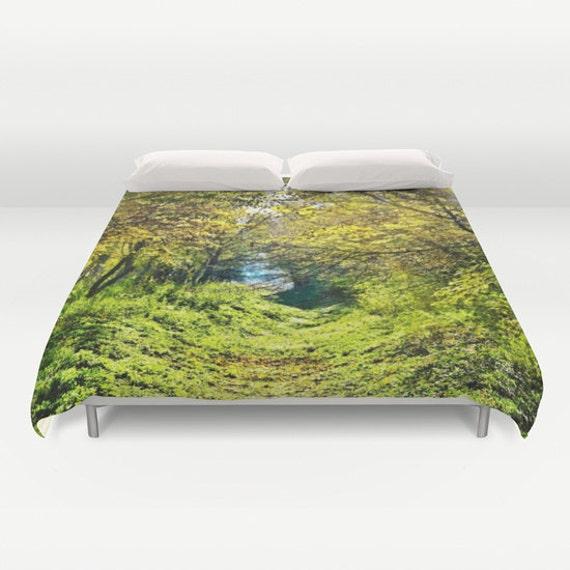 Forest Duvet Cover, In The Woods, Green Bedding, Trees Bedspread, Decorative, Fantasy Bedding, Unique Design, Comforter Cover, Bedroom