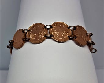 Lucky Penny Bracelet made from Singapore Coins, Copper Coin Bracelet, Copper Penny Coin Jewellery, Copper Bangle, World Coins, Foreign Coins