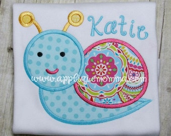 Personalized Snail Applique Shirt or Bodysuit Girl or Boy