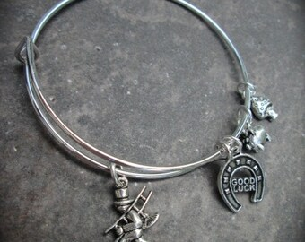 German Good Luck Adjustable Bangle Bracelet withChimney Sweep Horseshoe Pig and Mushroom charms German Jewelry