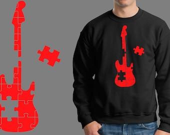Guitar Puzzle Music Jersey Sweatshirt Fleece Music Fan