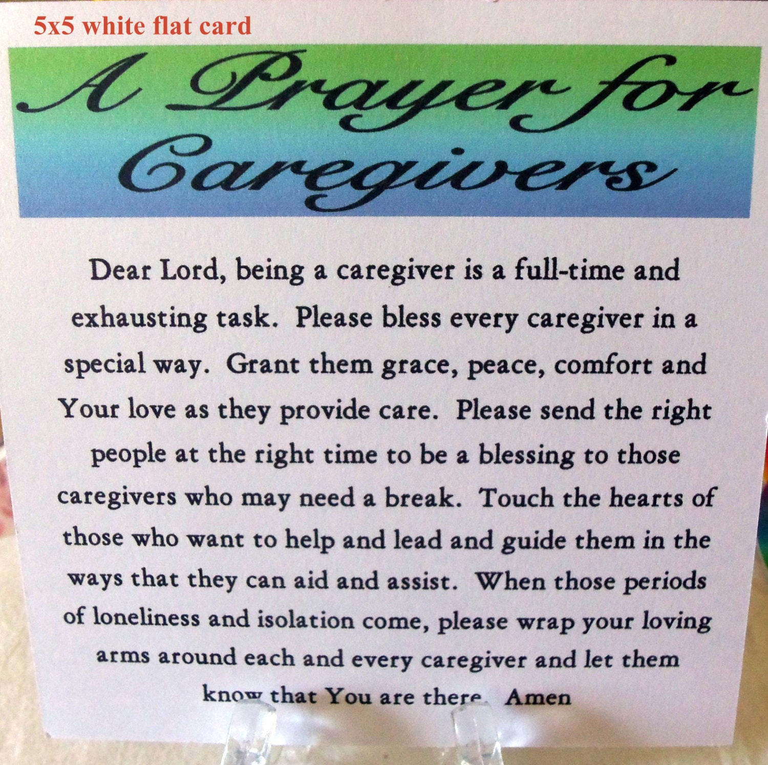 Prayer for caregivers card caregiver card pray for