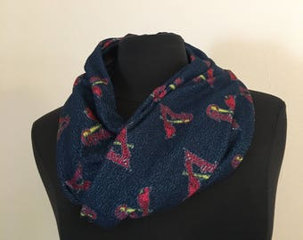 Repurposed/Up-cycled St. Louis Cardinals Baseball Infinity Scarf
