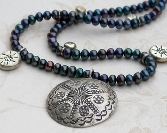 Silver medallion necklace, handmade peacock pearl and hill tribe silver necklace-OOAK June birthstone jewelry
