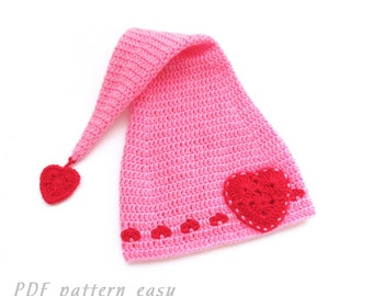 Crochet Stocking Hat Pattern, Baby Stocking Cap Pattern, Valentines Day Hat Pattern, PDF Sale - Instant Digital Download