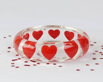 BANGLE, RESIN, CLEAR, red, clear resin bangle with red hearts, gift idea for wife, gift idea girlfriend, romantic gift, red and clear bangle