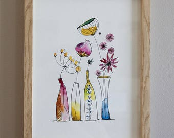 Illustration watercolor vases floral fine art paper