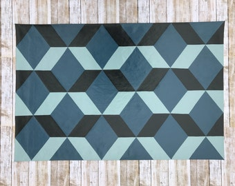 2'x 3' Tumbling Blocks Blue Pattern Floor Cloth, Painted Canvas Rug