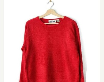 Winter Sale 40% Off Vintage Vivid Red Acrylic Slouchy Light Sweater from 90's*
