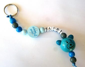 Key ring personalized gray blue silicone