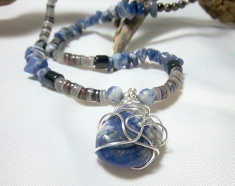 Mens Sodalite Necklace, Blue Necklace, Wire Wrapped Stone, Shell Heishi, Gemstone Chips