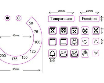 "Temperature dial with 17 oven symbols + ""Temperature"" and ""Function"" stickers"