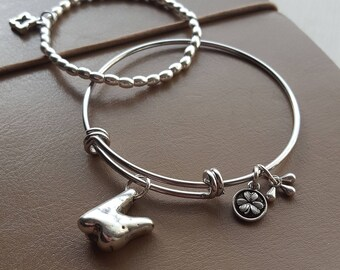 Hand Crafted Silver Wisdom Tooth, Made in Ireland. One Size Charm Bangle